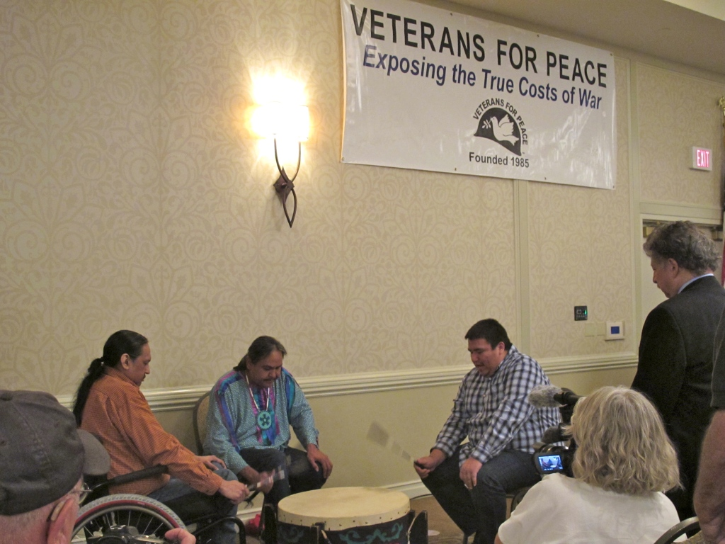 Three members of the Ho-Chunk nation singing at the Veterans for Peace convention.