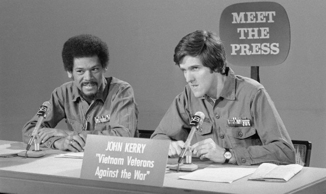 The US Secretary of State John Kerry as a young man protesting the war in Vietnam.