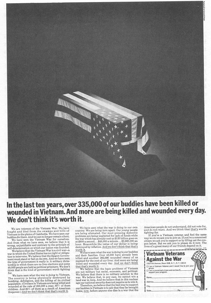 A 1971 ad VVAW ran, which explained their reasons for protesting the war. This ad was funded by Hugh Hefner.