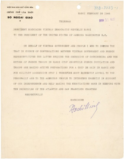 The telegraph that Ho Chi Minh sent to US President Truman on Feb. 28, 1946.