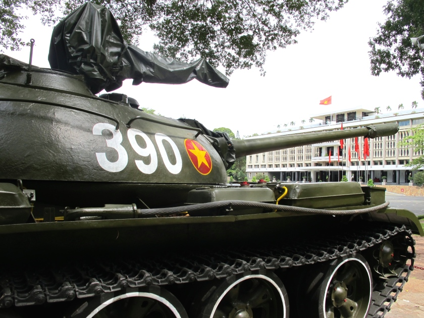 A replica of the tank used to break down the gates of the South Vietnamese presidential palace, standing in front of today's Reunification Palace in Saigon. (Photo by Nissa Rhee, June 2014)