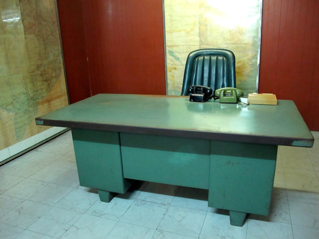 President's desk in war room at the Reunification Palace. (Photo by Nissa Rhee, June 2014)
