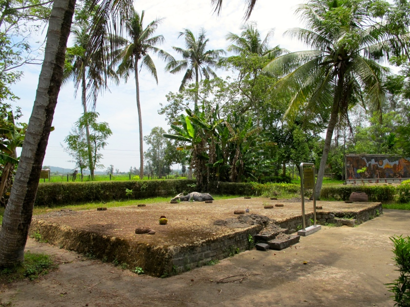 The foundation of a house owned by Mrs Truoung Thi Le that was destroyed in the massacre. Three of her family members were killed in the massacre, ages 8, 17 and 64. (Photo by Nissa Rhee, June 2014)