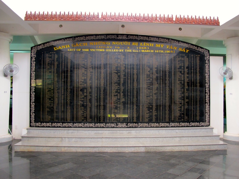 A memorial plaque in the My Lai museum lists the names of those killed in the massacre. (Photo by Nissa Rhee, June 2014)