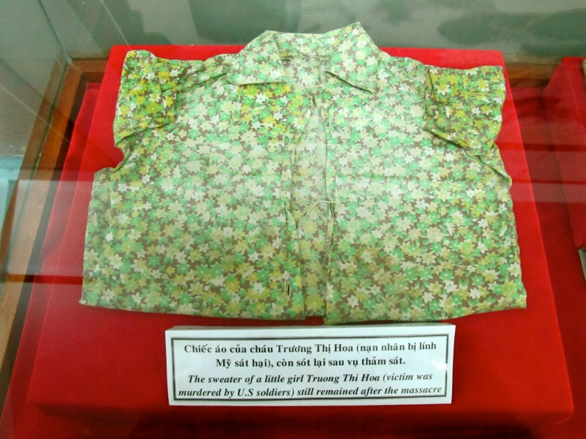 A sweater owned by one of the massacred children that was recovered from the My Lai massacre site is displayed in the museum. (Photo by Nissa Rhee, June 2014)
