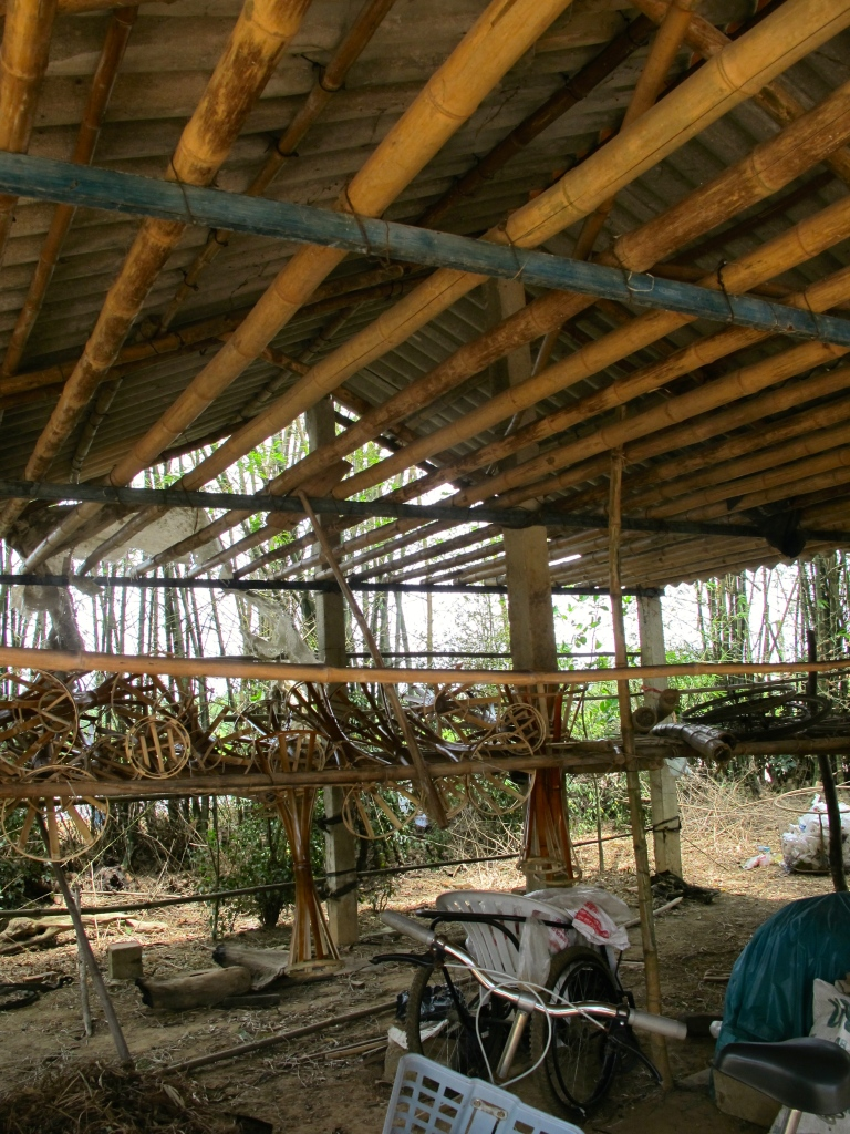 Do Thien Dang's hanging house, where he grows mushrooms during the wet season. (Photo by Nissa Rhee, June 2014)