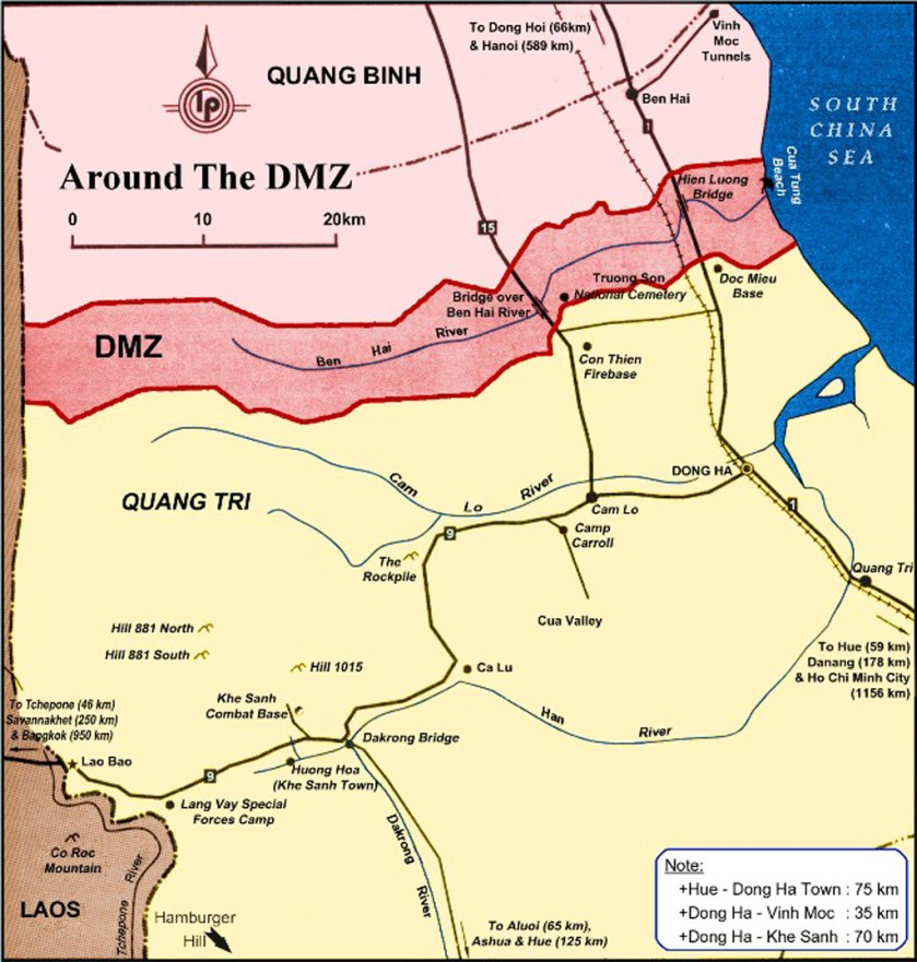 A map of the former DMZ, which separated North and South Vietnam.