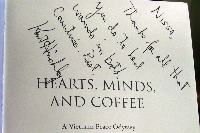 hearts minds coffee inscription