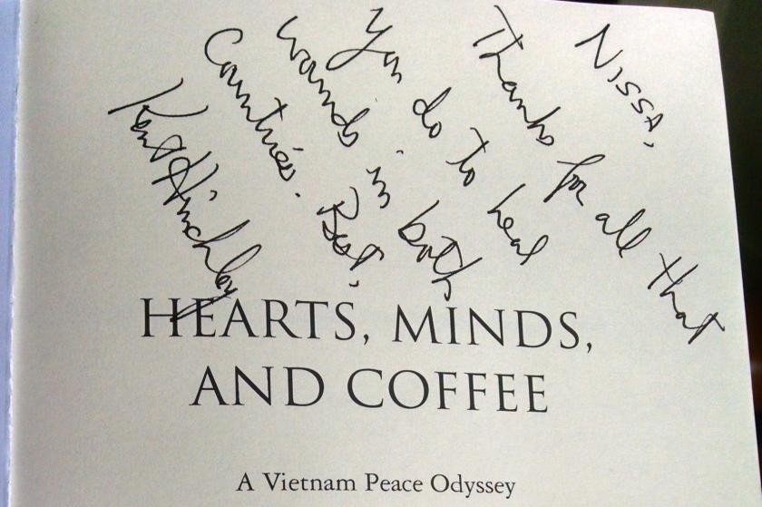 hearts minds coffee inscription