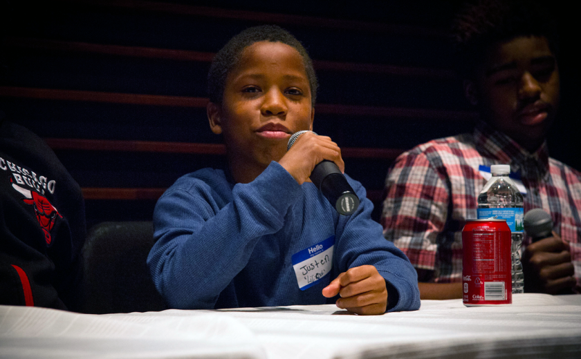 At Story Squad programs, students from the South Side share their experiences. (Photo courtesy Youth Safety and Violence Prevention program)